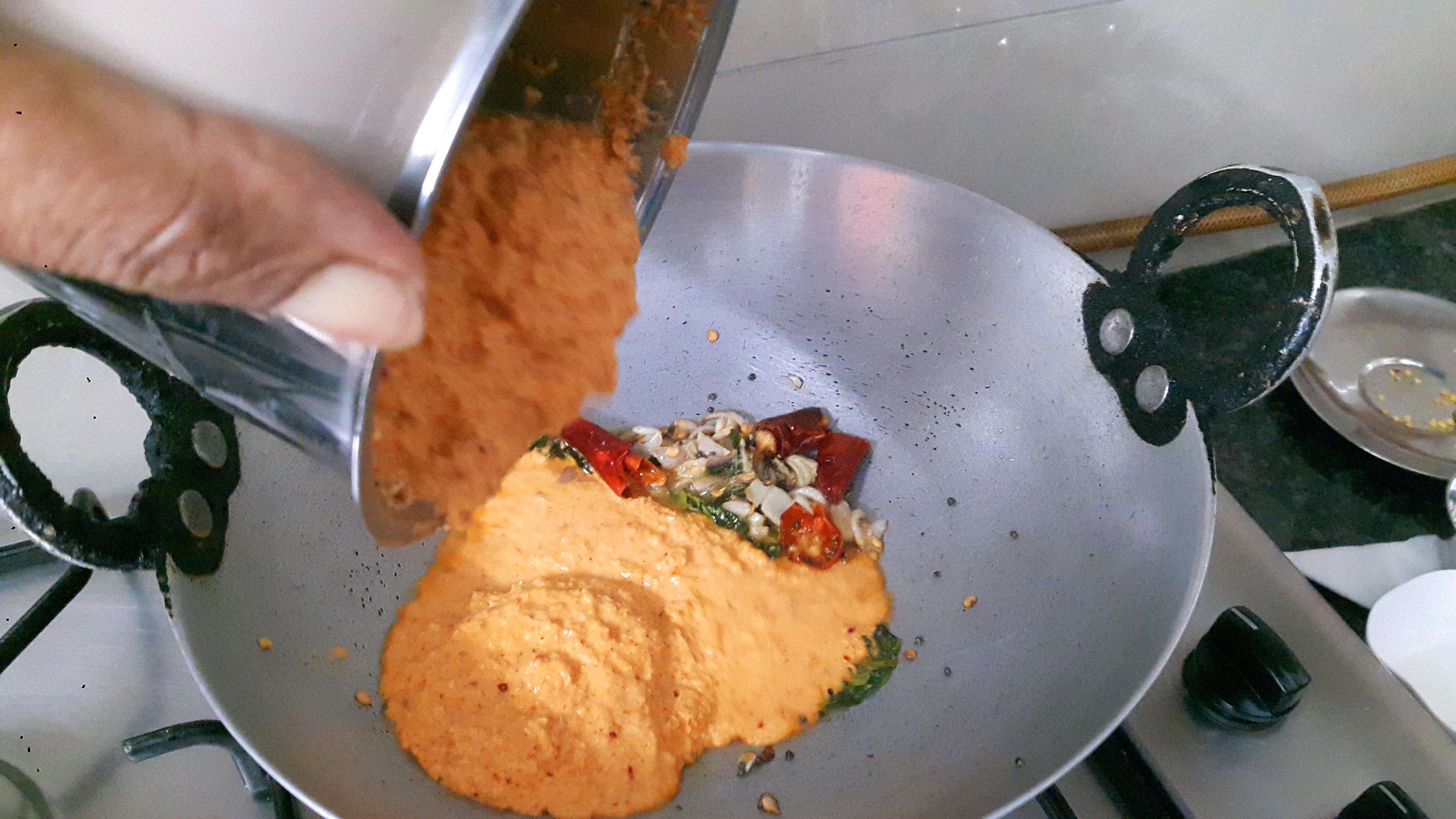 Pour ground coconut paste